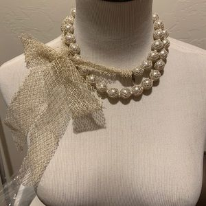 Lee Angel Tulle Wrapped Pearl Necklace